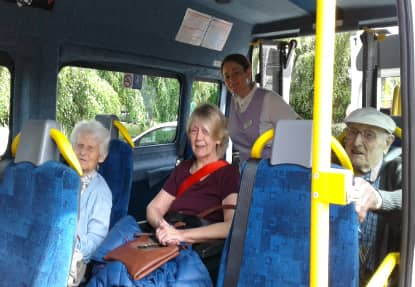 Residents aboard the Oomph! bus.