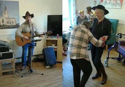 Left: Country singer and guitarist, Pete. Right: Residents dancing along to the music