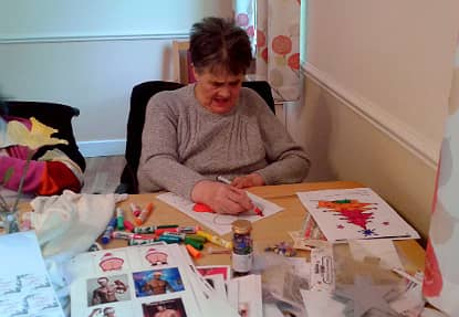 Josephine hard at work, making a variety of different Christmas crafts.