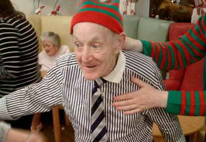 One resident enjoying a dance at Lansbury Court's Christmas Party