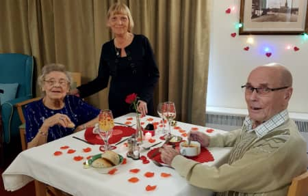 Carer Carol with Shirley and Edwin on their Valentines Day Date.