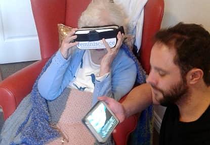 Resident enjoying her VR experience!