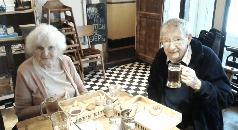 Celia (Left) and Eric (Right) enjoying some lunch in York.