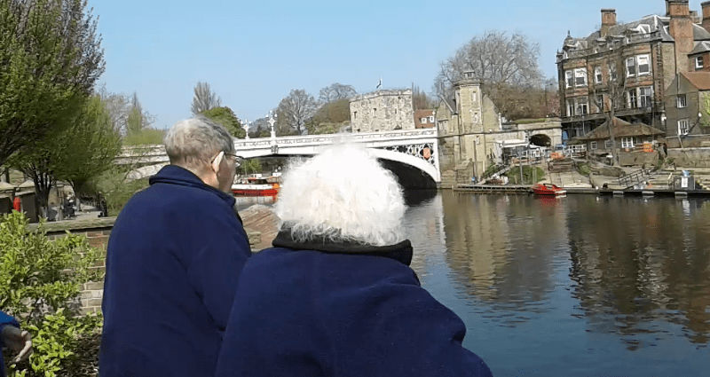 Eric (left) and Celia (Right) enjoying a view of the river in York.