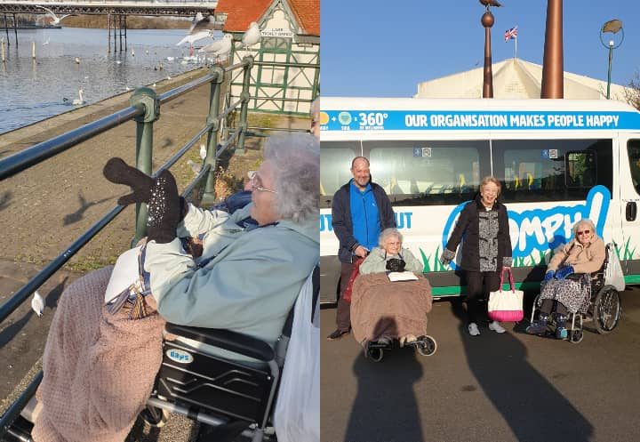 Left: Resident enjoying a view of the seaside - Right: Residents outside of the Oomph! bus.