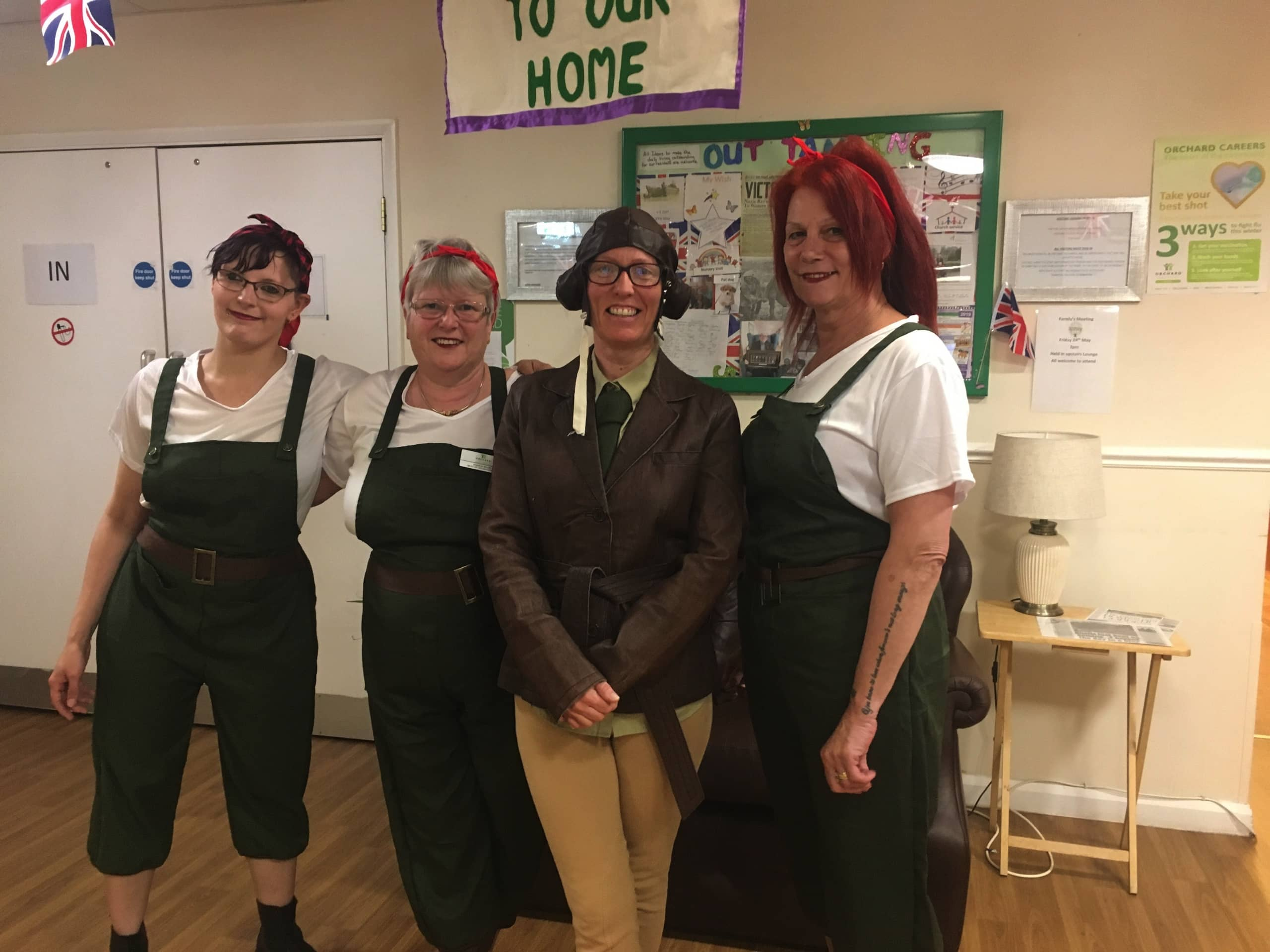 Staff at Chatsworth Lodge dressed as Land Girls.
