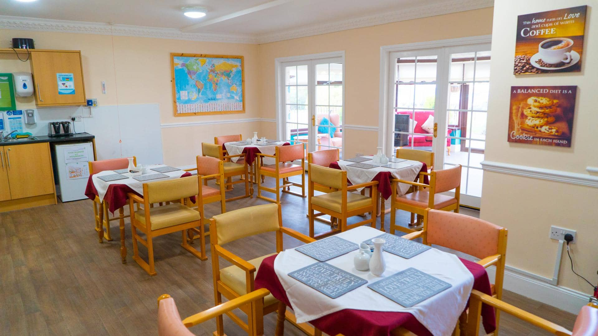 Care home in Sunderland dining room