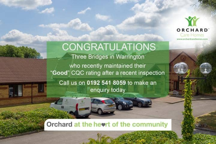 Three Bridges Care Home - Good CQC Banner