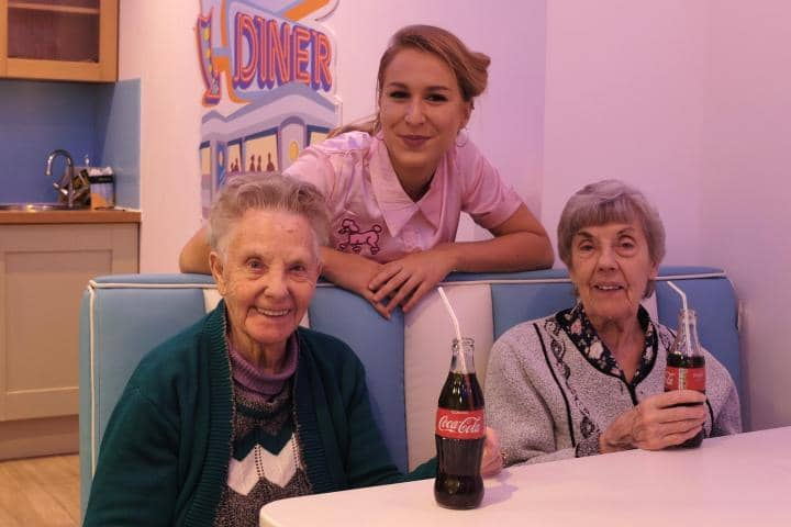 Residents out for dinner at a diner