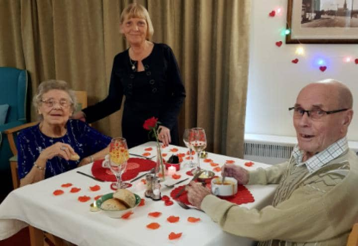 Resident Shirley with her husband Edwin and Carer Carol.