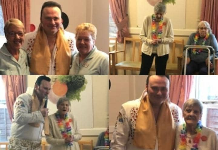 Residents and staff posing for photos with the Elvis impersonator.