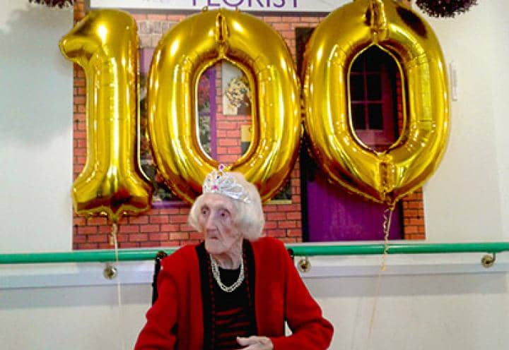 Harriett celebrating her 100th birthday.