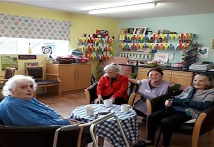 Residents enjoying their coffee morning.