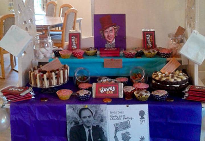 The Willy Wonka themed cake and sweet stall at The Grange Care Centre.