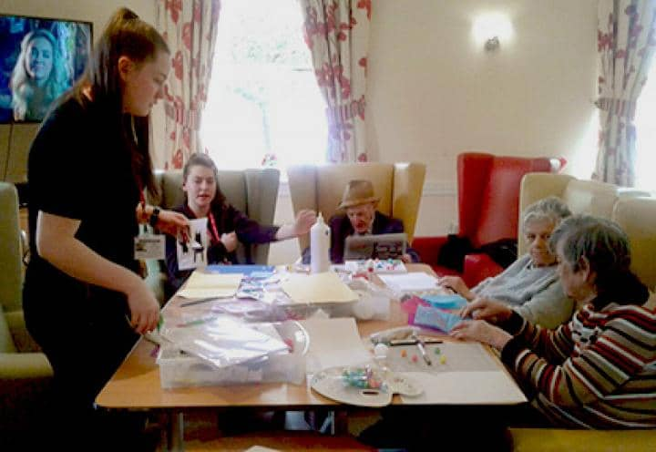 Residents enjoying their arts & crafts sessions.