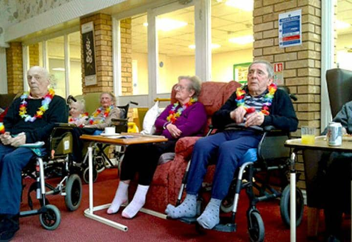 Residents at Shevington Court enjoying the live entertainment.