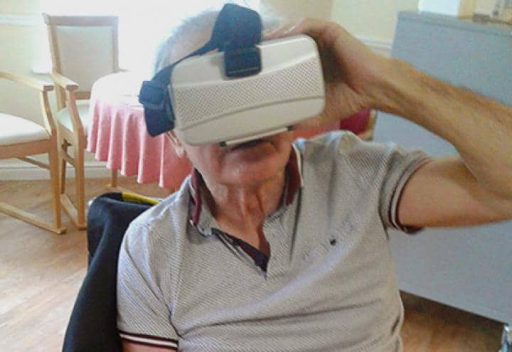 Richard wearing the VR headset
