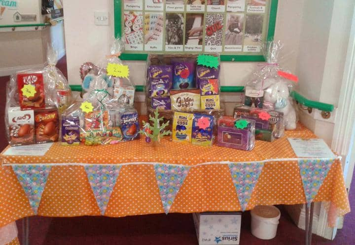 A table of prizes and goodies at Archers Park's Easter Party.