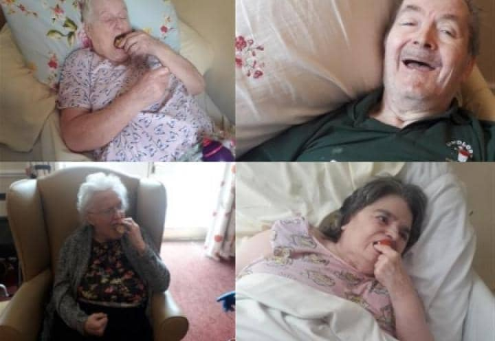 Residents enjoying eating their doughnuts