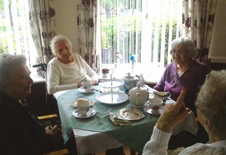 Residents at Green Lodge Care Home in Billingham enjoying their cream tea.