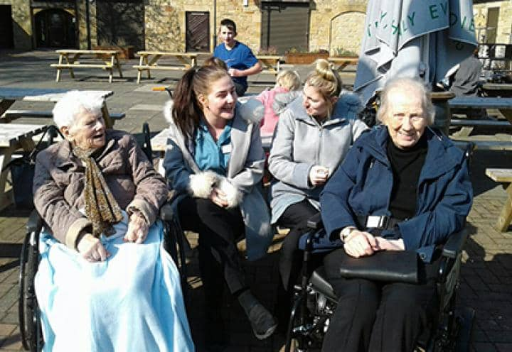 Residents out in the sun at the Washington Art Centre.