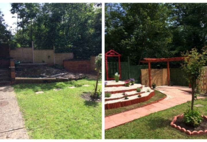 Before and after of Chatsworths garden