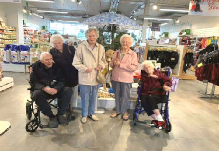 Residents at the garden centre