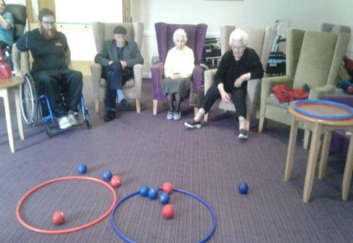 Residents playing Boccia
