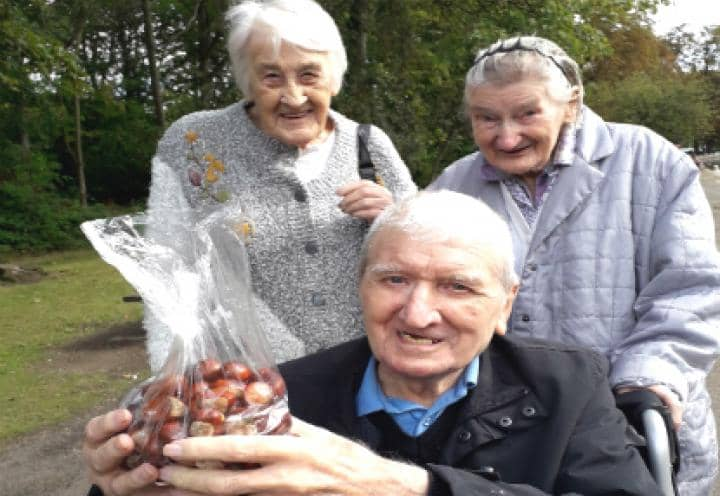 residents showing off their acorns
