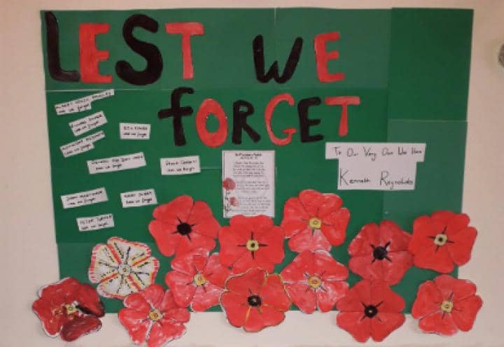 remembrance display at the heathers.