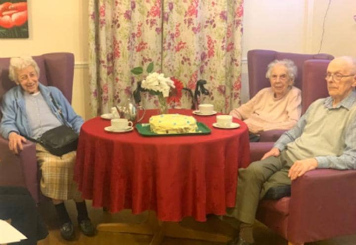 residents enjoying their afternoon tea.