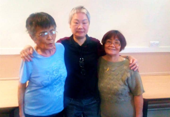 helen with her friends at the community centre.