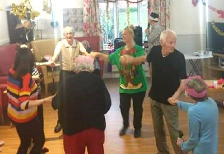 residents dancing away.