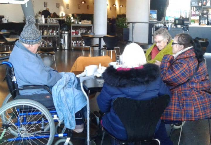 residents at the cafe.