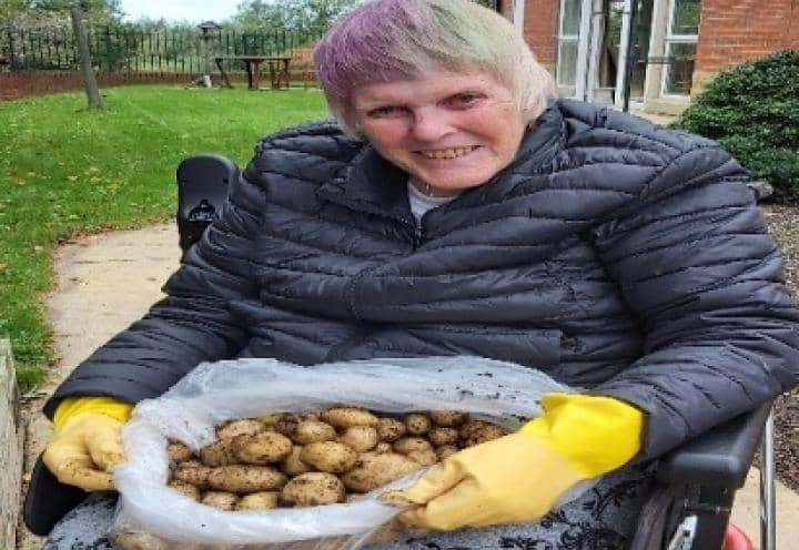 Resident with the potatoes.