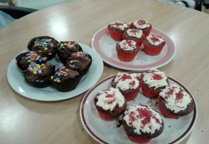 Cakes made by residents and staff.