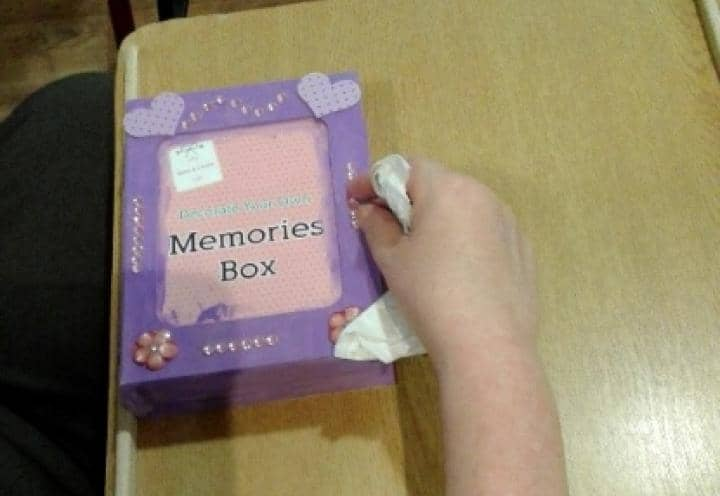 memory boxes made by residents.