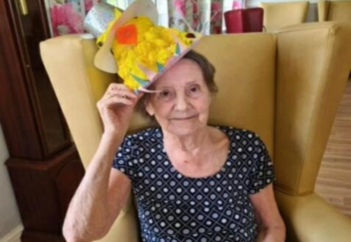 Resident with her Easter Bonnet.